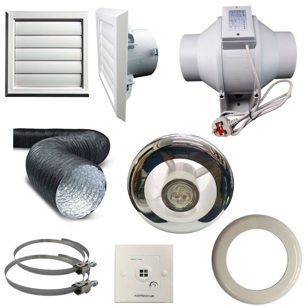 Timer pir light inline extractor kit 100mm 4 back draught shutter bathroom fan Most powerful bathroom extractor fan