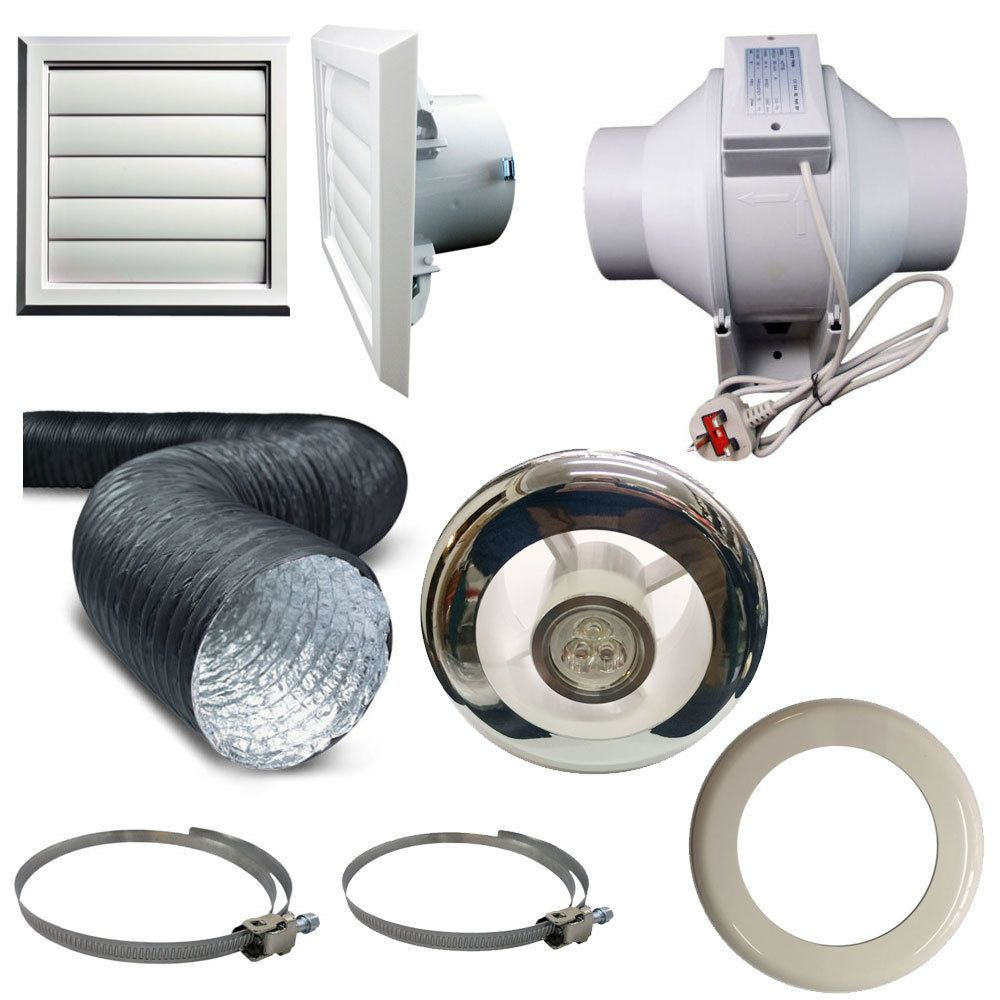 Timer Pir Light Inline Extractor Kit 100mm 4 Back Draught