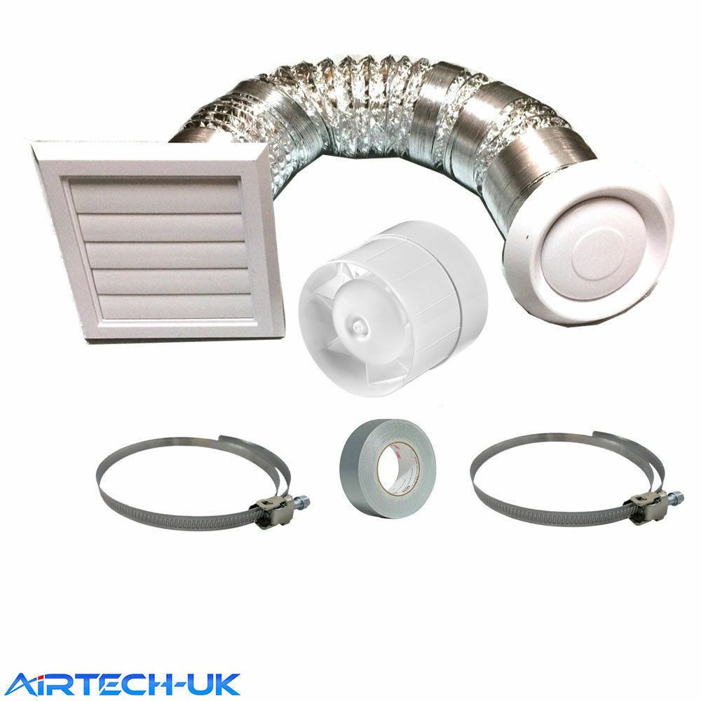 Bathroom Shower 4 Inline Extractor Fan Kit With Timer