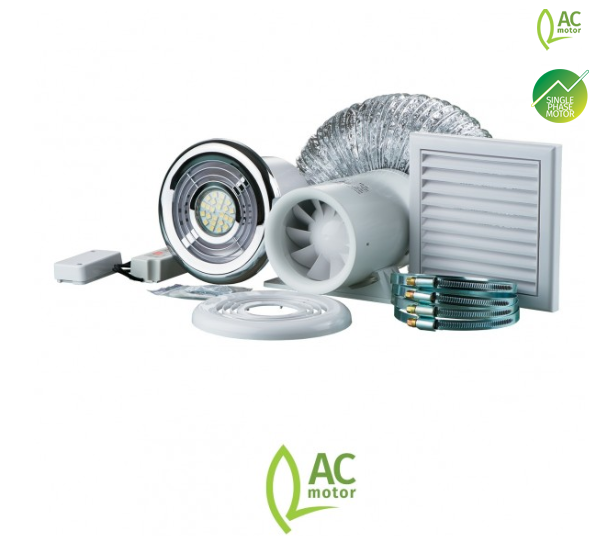 Blauberg Ducto Bathroom Shower Fan Kit 100mm with Timer & LED Light